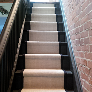Spice sisal carpet runner for stairs installation