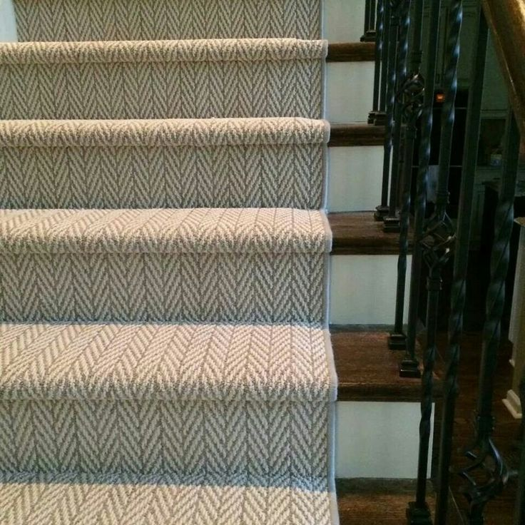 All Natural Chevron Carpet design for stairs